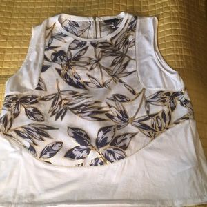 Jcrew sleeveless cotton knit top with 100% Linen